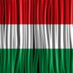 Hungary Flag Wave Fabric Texture — Stock Vector