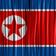 North Korea Flag Wave Fabric Texture — Stockvektor