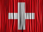 Switzerland Flag Wave Fabric Texture — Stock Vector
