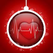 Feliz bola navidad doctor hospital corazón — Vector de stock