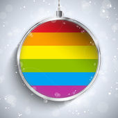 Gay Flag Merry Christmas Ball — Stock Vector
