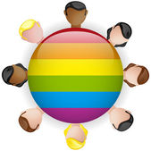 Gay Flag Group Crowd Icon LGBT — Stock Vector