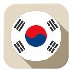 South Korea Flag Button Icon Modern — Stock Vector