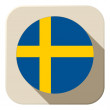 Sweden Flag Button Icon Modern — Stock Vector