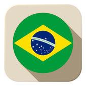 Brazil Flag Button Icon Modern — Stock Vector