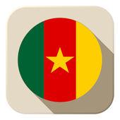 Cameroon Flag Button Icon Modern — Stock Vector