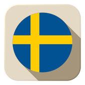 Sweden Flag Button Icon Modern — Stock Vector