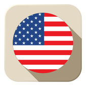 USA Flag Button Icon Modern — Stock Vector