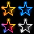 Glowing Neon Stars — Stock Vector