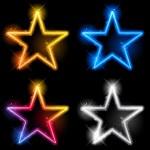 Glowing Neon Stars — Stock Vector