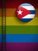 Gay Flag Button on Jeans Fabric Texture Cuba — 图库矢量图片