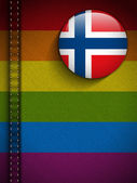 Gay Flag Button on Jeans Fabric Texture Norway — Stock Vector