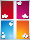 Valentines Day Set of Four Web Banners — Vetor de Stock