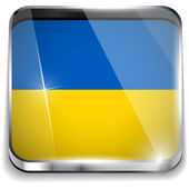 Ukraine Flag Smartphone Application Square Buttons — Stock Vector