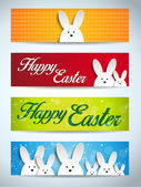 Easter Rabbit Bunny Set of Banners — Stock Vector