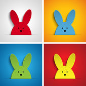 イースターのウサギのウサギの漫画を設定 — ストックベクタ