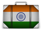 India Travel Luggage with Flag for Vacation — Stock Vector