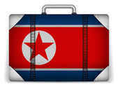 North Korea Travel Luggage with Flag for Vacation — Stock Vector