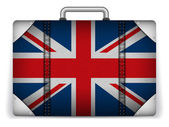 UK Travel Luggage with Flag for Vacation — Stock Vector
