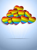 Gay Flag Hearts Balloons Background — Stock Vector