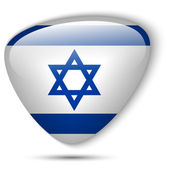 Israel Flag Glossy Button — Stock Vector