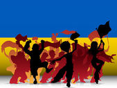 Ukraine Sport Fan Crowd with Flag — Stock Vector