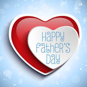 Happy Fathers Day Red Heart — Stock Vector