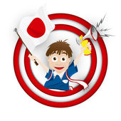 Japan Soccer Fan Flag Cartoon — Stock Vector