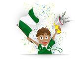 Nigeria Soccer Fan Flag Cartoon — Stock Vector