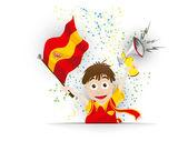 Spain Soccer Fan Flag Cartoon — Stock Vector