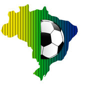Brazilië vlag met soccer ball achtergrond — Stockvector