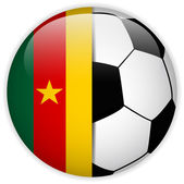 Cameroon Flag with Soccer Ball Background — Wektor stockowy