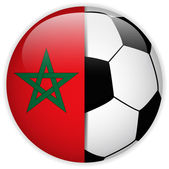 Morocco Flag with Soccer Ball Background — Stock Vector