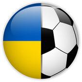 Bandera de ucrania con fondo de balón de fútbol — Vector de stock