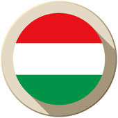 Hungary Flag Button Icon Modern — Stock Vector