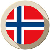Norway Flag Button Icon Modern — Stock Vector