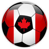 Canada Flag with Soccer Ball Background — Stock Vector