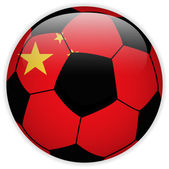China Flag with Soccer Ball Background — Stock Vector