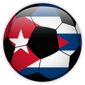 Cuba Flag with Soccer Ball Background — Stock Vector