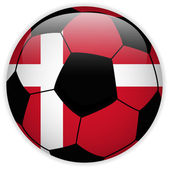 Denmark Flag with Soccer Ball Background — Stock Vector