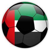 サッカー ボールの背景をフラグを首長国連邦 — ストックベクタ