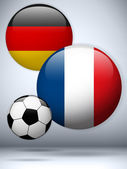 Germany versus France Flag Soccer Game — Stock Vector