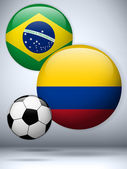 Brazil versus Colombia Flag Soccer Game — Stock Vector