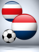 Netherlands versus Costa Rica Flag Soccer Game — Stock Vector