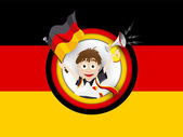 Germany Soccer Fan Flag Cartoon — Stock Vector