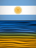 Argentina Flag Wave Yellow White Blue Background — Stock Vector