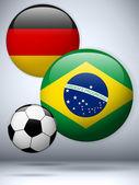 Germany versus Brazil Flag Soccer Game — Stock Vector
