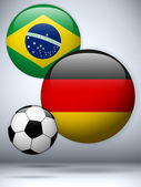 Germany versus Brazil Flag Soccer Game — Stock Vector