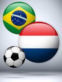 Netherlands versus Brazil Flag Soccer Game — Stock Vector