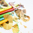 Pencils and wood shavings — Foto Stock